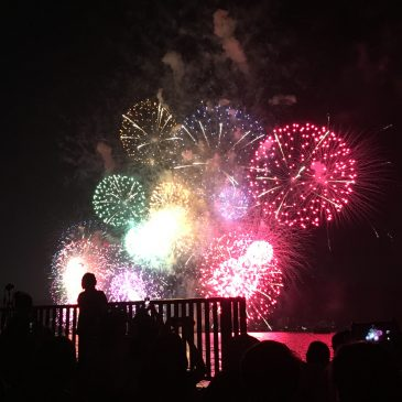 Traditional fireworks in Biwako lake