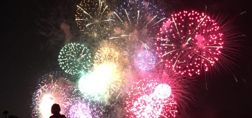 Traditional fireworks in Biwako lake
