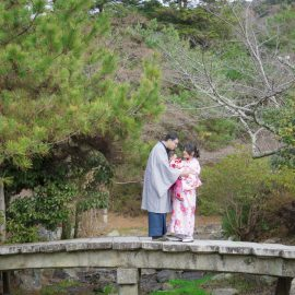 Lovely family with a kid at Maruyama park
